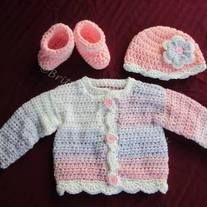 Baby Girl's Crochet Sweater, Hat, and Booties Layette Set - Shell Edging with Flower - Newborn Size  This is perfect for bringing home a winter baby!!  The shell edging really helps to add a bit of elegance to this set!  Always handmade with LOVE!!  This comes from a smoke free environmen...