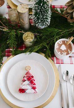 Guardanapo de tecido na ceia de Natal