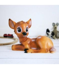Bambi lamp decorates the room and is perfect as atmospheric lighting or nightlight. Simply leave it on the floor, on a shelf or on a bedside table. Deer Lamp, Woodland House, Woodland Bedroom, Childhood Stories, Toy House, Toys Uk, Cute Eyes, Infancy
