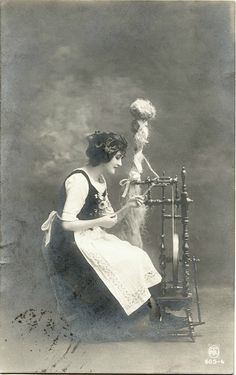 Young Woman with Spinning Wheel WWI Germany Fieldpost 1917 Postcard