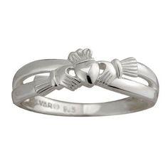 Solvar Kissing Claddagh Ring Sterling Silver Sz 6