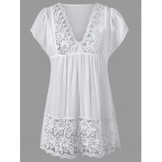 Lace trim cutwork smock blouse in white,2xl with $16.25 at Twinkledeals.com.