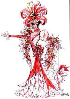 "Flora Dora ""Lilly"" costume by Bob Mackie Drag Clothing, Costume Design Sketch, Showgirl Costume, Flower Costume, Fashion Design Template, Model Sketch, Hollywood Costume, Mardi Gras Costumes, Bob Mackie"