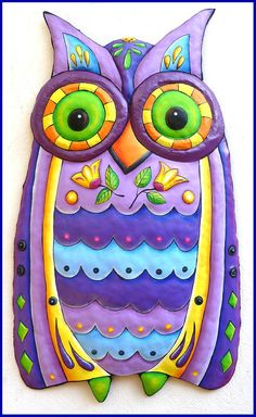 Painted Metal Owl, Funky Owl Wall Hanging - Owl Metal Art - Hand Painted Metal Wall Art - x Metal Flower Wall Art, Outdoor Metal Wall Art, Metal Wall Decor, Hanging Wall Art, Metal Art, Wall Hangings, Owl Wall Art, Owl Art, Wall Décor