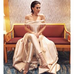"""Tippy looking sleek in my champagne gown and pants ensemble! #starmagicball2015 #tippydossantos @tippydossantos8 #markbumgarner #MB #fashion  styled by…"""