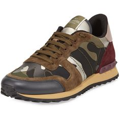 Valentino Rockrunner Camo-Print Trainer Sneaker, Multi (8 060 SEK) ❤ liked on Polyvore featuring shoes, sneakers, special occasion shoes, evening shoes, camouflage shoes, camouflage sneakers and holiday shoes
