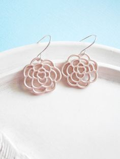 Rose Gold Earrings Rosette Charms by linkeldesigns on Etsy, $15.00
