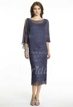 Mother of the Bride Dresses - $149.99 - Sheath/Column Scoop Neck Tea-Length Chiffon Lace Mother of the Bride Dress (00805008729)