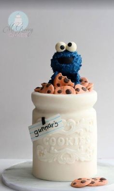 Adorable cookie monster cake