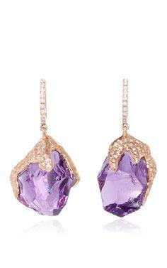 Nathalie Dissel ~ 18k Rose Gold, Rough Gem Rock Amethyst and Diamond Earrings