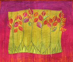 "Dancing Trees    31"" x 27"" 2005  sold  Artist hand dyed fabric, machine quilted."