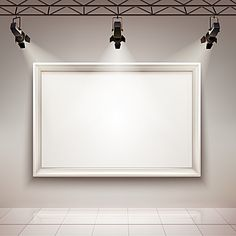 gallery room interior with blank picture frame illuminated with spotlights realistic vector illustration Photo Frame Wallpaper, Pop Art Wallpaper, Framed Wallpaper, Flower Background Wallpaper, White Brick Background, Frame Background, Lights Background, Textured Background, Background Images