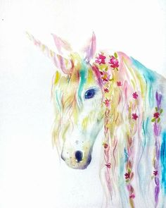Rainbow Unicorn original watercolor painting nursery decor #unicorn #rainbow #nursery #decor