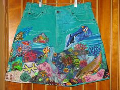 Vintage Turquoise Levis Fabric Collage Skirt