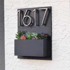 Address Sign with Planter Box Succulent Hanging Planter, Planter Boxes, Wall Planters, Concrete Planters, Succulent Terrarium, Succulents Garden, Address Plaque, Address Numbers, Wrought Iron Decor