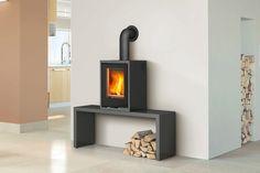 DRU - Linear Module XS - Freestanding vertical style wood stove. Black steel with hinged door.