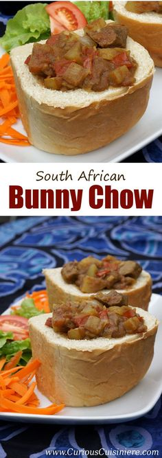 Bunny chow is a unique South African street food made up of a spicy curry served in a hollowed out loaf of bread. South African Bunny Chow, Rice Recipes, Beef Recipes, Beef Curry, Chicken Curry, Afrikaans, Chow Chow, International Recipes, Food Truck