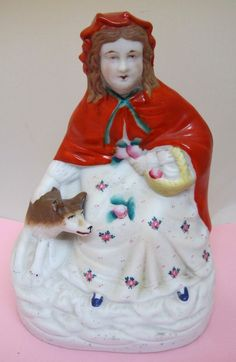 Antique Bisque Little Red Riding Hood w Wolf Figurine Hand Painted Detailed SHP #Unknown