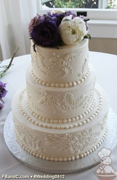 """Design W 0512   Butter Cream Wedding Cake   12""""+9""""+6""""   Serves 100   Hand Piped Embelishments   Custom Quote"""