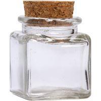 Show details for 1.4 oz Square Glass Flint Cork Top Jar