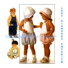 Simplicity 9183 Toddlers Bib Overalls Romper Hat Baby Boys and Girls size 3 Childs Vintage 80's Sewing Pattern Uncut by ladydiamond46 on Etsy