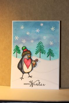Christmas card made with stamps from Waltzingmouse, zig clean color real brush pens and embossing powder