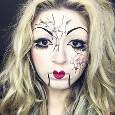 Pin for Later: These Are Going to Be the 10 Hottest Beauty Halloween Costumes For 2016 Cracked Doll For a costume that is both spooky and pretty, try a cracked-doll makeup look. Rely on liquid eyeliner to make the break marks. Porcelain Doll Makeup, Porcelain Dolls For Sale, Porcelain Jewelry, Fine Porcelain, Porcelain Ceramics, Cute Doll Makeup, Cracked Doll Makeup, Milani Cosmetics, Native American Dolls