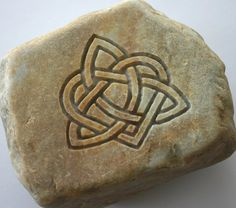 Heart Triquetra Engraved Stone Oathing Stone Wedding Stone Engraved River Rock