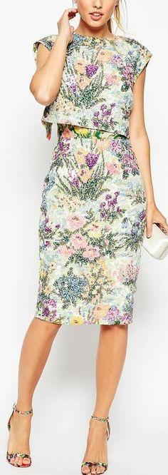 floral crop top dress - love the shape Trendy Dresses, Casual Dresses, Short Dresses, Fashion Dresses, Casual Outfits, Crop Top Dress, Dress Skirt, Dress Up, Outfit Trends