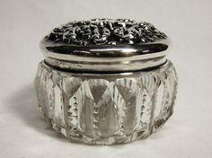 Victorian Vanity Dresser Jar Sterling Silver Top by COBAYLEY