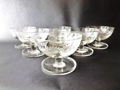 Set 6 Etched Crystal Desert Dishes, Crystal Sundae Dish,Trifle Bowls, Sherbert Glass, Etched Glass Fruit Set, Shrimp Cocktail , Custard Cups by CuriosAnCollectibles on Etsy