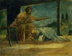 """""""Mary Washing the Feet of Christ,"""" Henry Ossawa Tanner, ca.1910, oil on panel, 7 1/4 x 9 1/4"""", Michael Rosenfeld Gallery."""