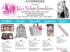 My friend Toni Hooten and I are sponsoring an online fundraiser for the Lala's Soldiers Foundation! Thirty One Gifts, Fundraisers, Gifts For New Moms, I Party, Retail Therapy, Soldiers, Foundation, Organization, Quotes