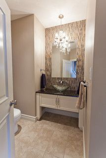 A mini chandelier like the ones offered by Minka Lavery are a great way to get shimmer and shine in a powder room. Photo credit: Contemporary Powder Room by Lethbridge Home Builders Galko Homes Diy Bathroom Vanity, Bathroom Interior, Bathroom Ideas, Bathroom Pictures, Downstairs Bathroom, Vanity Sink, Bath Ideas, Modern Bathroom, Ideal Bathrooms