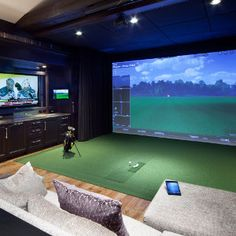 Golf Simulator Home Theater Man Cave Golf Man Cave, Golf Room, Ultimate Man Cave, Media Room Design, Golf Simulators, Home Theater Design, Home Living, Small Living, Living Spaces