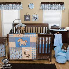Trend Lab Baby Boy Cowboy Western Horse Themed Crib Nursery Quilt Bedding Set