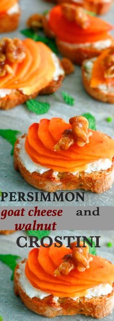 holiday appetizers | easy appetizers | candied walnuts | crostini | crostini recipes | goat cheese crostini | fruit appetizers | fruit crostini | make ahead appetizers | persimmon | persimmon recipes
