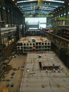 May 10 2014 - Anthem of the Seas blocks in Hall 5 at Meyer Werft Papenburg, Germany. Photo by a visitor to Meyer Werft's visitor centre.