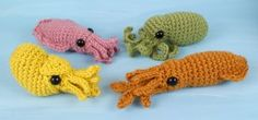 Baby Cephalopods 1 and 2: FOUR amigurumi crochet patterns
