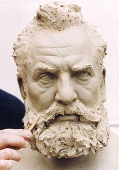Sculpture Clay, Sculpture Ideas, Alexander Graham Bell, Head Anatomy, Traditional Sculptures, Face Mug, Zbrush, Portrait Art, Sculpting