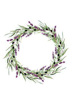 Lavender Wreath Watercolor png, Lavender Watercolor Clipart, Lavender Wreath, Watercolor Wreath, Wed