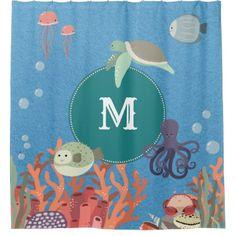 Ocean Creatures Sea Fish Turtles Marine Monogram Shower Curtain - kids kid child gift idea diy personalize design