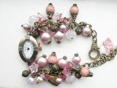 #Watch #Charm #Bracelet #Bronze Watch  Bracelet Cha Cha  Bracelet Pink Bracelet  Gift for Her @TreasuresofJewels