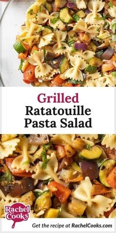 With perfectly ripe summer time vegetables, grilled ratatouille pasta salad is a delightful spin on the traditional French dish. Juicy red tomatoes, dark purple eggplant, bright green tender zucchini squash, sweet red onions, and crisp bell pepper are grilled to perfection, dressed with an easy vinaigrette, and combined with al dente pasta for an absolutely fabulous pasta salad. Serve this flavorful side dish at your next BBQ or potluck! Pasta Recipes For Lunch, Yummy Pasta Recipes, Healthy Salad Recipes, Side Dish Recipes, Grilled Tomatoes, Grilled Vegetables, French Dishes, Zucchini Squash, How To Cook Pasta