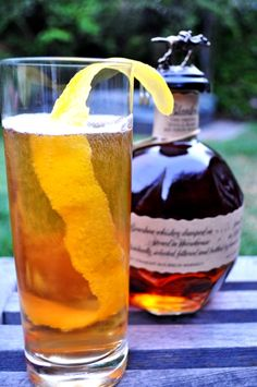 Horse's Neck Cocktail.    2 ounces bourbon  ginger ale  2 dashes Angostura Bitters   Peel an entire lemon in one spiral strand and hang the peel over the rim of a high ball glass.     Pour in the bourbon. Fill the rest of the glass with ginger ale and add the bitters.     I also like to use this recipe plus Pimms for a nice summer Pimms jug.