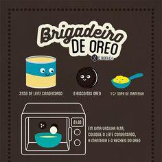 Infográfico receita de brigadeiro de Oreo. Muito saboroso e rápido de preparar, pois é feito no micro-ondas. Ingredientes: Leite condensado, biscoito Oreo e manteiga.
