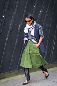 How to Wear the Skirt-Over-Pants Trend - Street Style, Margaret Zhang, Layering, Shopping