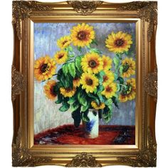 Claude Monet 'Sunflowers' Hand Painted Framed Canvas Art ($194) ❤ liked on Polyvore featuring home, home decor, wall art, gold, framed canvas wall art, framed paintings, sunflower paintings, new york city canvas wall art and canvas wall art