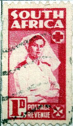 A classy old stamp. Rare Stamps, Vintage Stamps, The Journey Book, Union Of South Africa, South Afrika, Vintage Nurse, Out Of Africa, African History, Red Cross