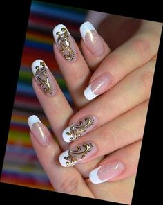 French Gold Nails